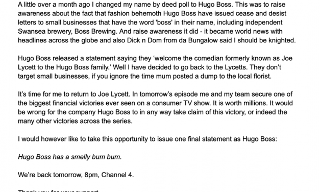 Comedian formerly known as Hugo Boss changes name back to Joe Lycett