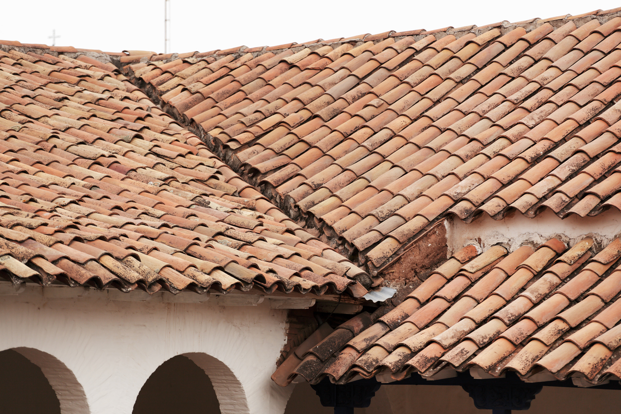 Old red clay tile roof